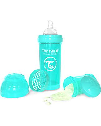 Twistshake Biberon Anti-Colica 260 ml, Turchese Sleepyhead - Include contenitore e filtro latte! Senza BPA, BPS e BPF! Biberon Anti-Colica