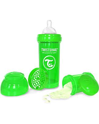 Twistshake Biberon Anti-Colica 260 ml, Verde Sugarpuss - Include contenitore e filtro latte! Senza BPA, BPS e BPF! Biberon Anti-Colica