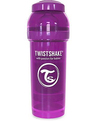 Twistshake Biberon Anti-Colica 260 ml, Viola Bestie – Include contenitore e filtro latte! Senza BPA, BPS e BPF! Biberon Anti-Colica