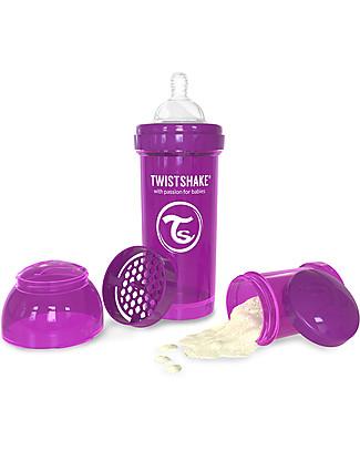 Twistshake Biberon Anti-Colica 260 ml, Viola Bestie - Include contenitore e filtro latte! Senza BPA, BPS e BPF! Biberon Anti-Colica