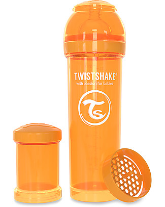 Twistshake Biberon Anti-Colica 330 ml, Arancione Sunbeam - Include contenitore e filtro latte! Senza BPA, BPS e BPF! Biberon Anti-Colica