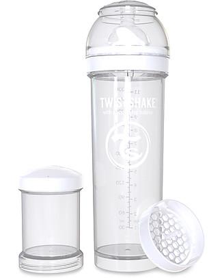 Twistshake Biberon Anti-Colica 330 ml, Bianco Diamond - Include contenitore e filtro latte! Senza BPA, BPS e BPF! Biberon Anti-Colica