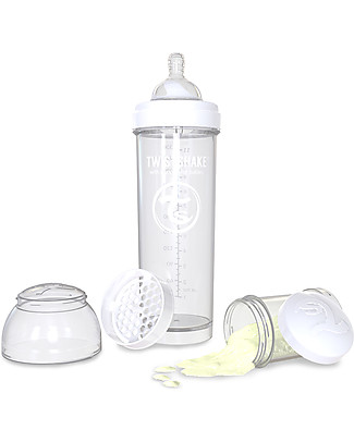 Twistshake Biberon Anti-Colica 330 ml, Bianco Diamond - Include contenitore e filtro latte! Senza BPA, BPS e BPF! Biberon Anti-Colica