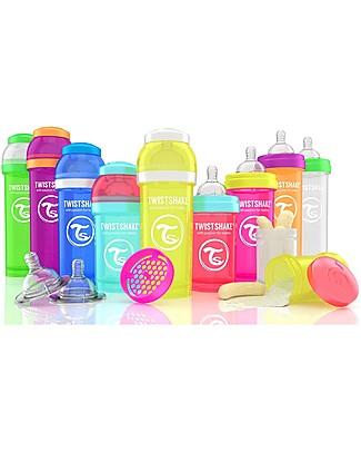 Twistshake Biberon Anti-Colica 330 ml, Blu Cookiecrumb - Include contenitore e filtro latte! Senza BPA, BPS e BPF! Biberon Anti-Colica