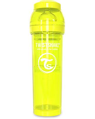 Twistshake Biberon Anti-Colica 330 ml, Giallo Starlight - Include contenitore e filtro latte! Senza BPA, BPS e BPF! Biberon Anti-Colica