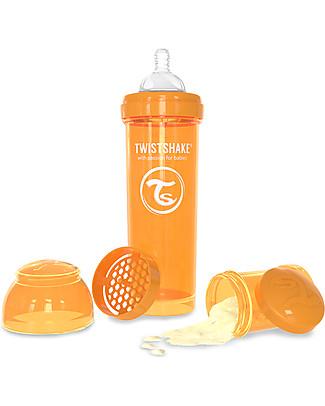 Twistshake Biberon Anti-Colica 330 ml Tettarella L, Arancione - Include contenitore e filtro latte. Senza BPA, BPS e BPF! Biberon Anti-Colica