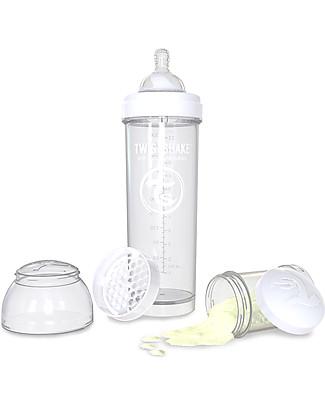 Twistshake Biberon Anti-Colica 330 ml Tettarella L, Bianco - Include contenitore e filtro latte. Senza BPA, BPS e BPF! Biberon Anti-Colica