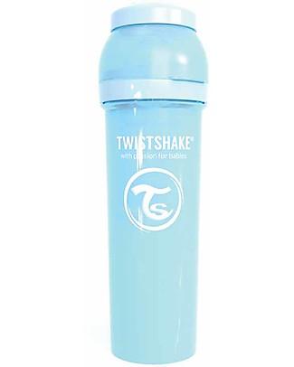 Twistshake Biberon Anti-Colica 330 ml Tettarella L, Blu Pastello - Include contenitore e filtro latte. Senza BPA, BPS e BPF! Biberon Anti-Colica