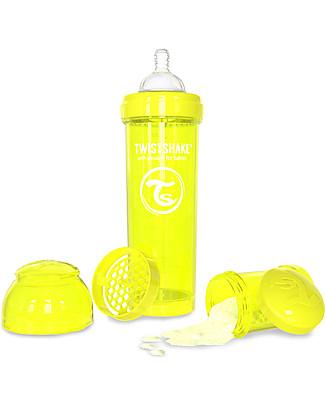 Twistshake Biberon Anti-Colica 330 ml Tettarella L, Giallo - Include contenitore e filtro latte. Senza BPA, BPS e BPF! Biberon Anti-Colica