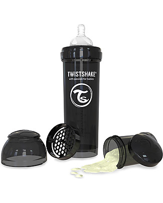 Twistshake Biberon Anti-Colica 330 ml Tettarella L, Nero - Include contenitore e filtro latte. Senza BPA, BPS e BPF! Biberon Anti-Colica