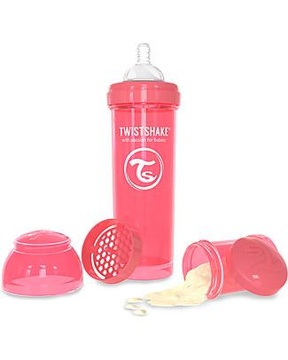 Twistshake Biberon Anti-Colica 330 ml Tettarella L, Pesca - Include contenitore e filtro latte. Senza BPA, BPS e BPF! Biberon Anti-Colica