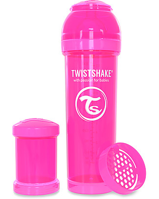 Twistshake Biberon Anti-Colica 330 ml Tettarella L, Rosa - Include contenitore e filtro latte. Senza BPA, BPS e BPF! Biberon Anti-Colica