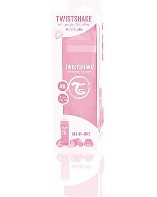 Twistshake Biberon Anti-Colica 330 ml Tettarella L, Rosa Pastello - Include contenitore e filtro latte. Senza BPA, BPS e BPF! Biberon Anti-Colica
