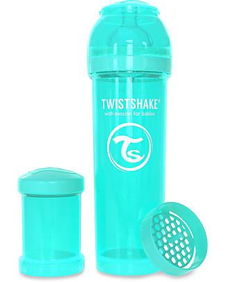 Twistshake Biberon Anti-Colica 330 ml Tettarella L, Turchese - Include contenitore e filtro latte. Senza BPA, BPS e BPF! Biberon Anti-Colica