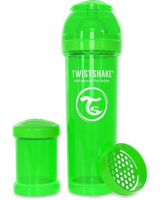 Twistshake Biberon Anti-Colica 330 ml Tettarella L, Verde - Include contenitore e filtro latte. Senza BPA, BPS e BPF! Biberon Anti-Colica
