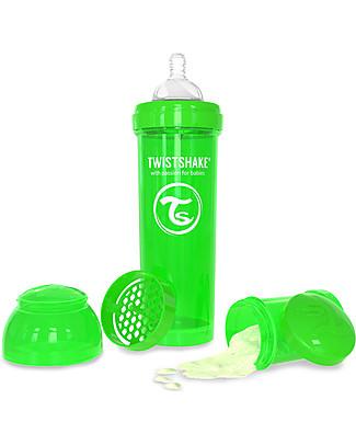 Twistshake Biberon Anti-Colica 330 ml, Verde Sugarpuss - Include contenitore e filtro latte! Senza BPA, BPS e BPF! Biberon Anti-Colica