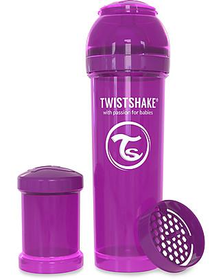 Twistshake Biberon Anti-Colica 330 ml, Viola Bestie - Include contenitore e filtro latte! Senza BPA, BPS e BPF! Biberon Anti-Colica