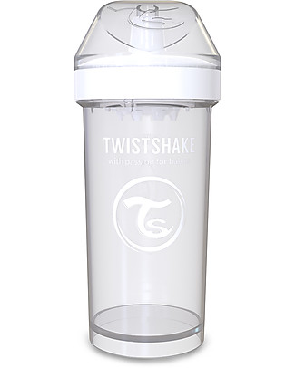 Twistshake Borraccia Kid Antigoccia Fruit Splash con Mixer per Frutta, 360 ml, Bianco Diamond -Senza BPA, BPS e BPF! Borracce senza BPA
