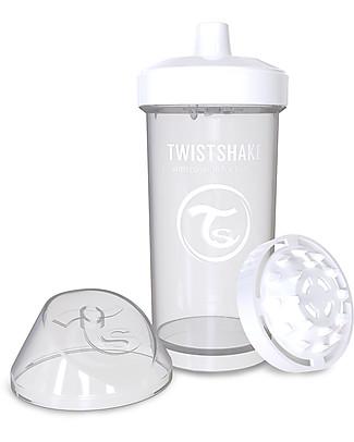 Twistshake Borraccia Kid Antigoccia Fruit Splash con Mixer per Frutta, 360 ml, Bianco Diamond -Senza BPA, BPS e BPF! Borracce senza BPA