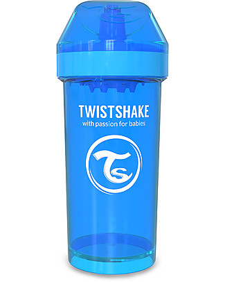 Twistshake Borraccia Kid Antigoccia Fruit Splash con Mixer per Frutta, 360 ml, Blu Cookiecrumb -Senza BPA, BPS e BPF! Borracce senza BPA