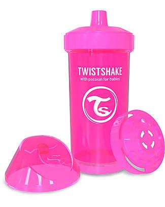 Twistshake Borraccia Kid Antigoccia Fruit Splash con Mixer per Frutta, 360 ml, Rosa Crazymonkey -Senza BPA, BPS e BPF! Tazze e Bicchieri