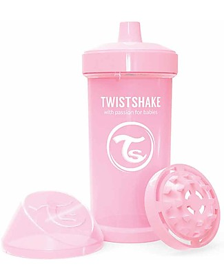 Twistshake Borraccia Kid Antigoccia Fruit Splash con Mixer per Frutta, 360 ml, Rosa Pastello -Senza BPA, BPS e BPF! Borracce senza BPA