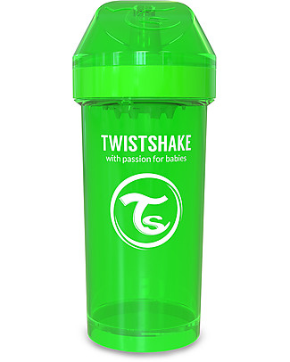 Twistshake Borraccia Kid Antigoccia Fruit Splash con Mixer per Frutta, 360 ml, Verde Sugarpuss -Senza BPA, BPS e BPF! Borracce senza BPA