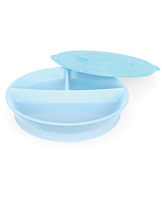 Twistshake Piatto divisorio con Coperchio - Blu Pastello - Senza BPA, BPS e BPF! null
