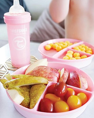Twistshake Piatto Divisorio con Coperchio - Rosa Pastello - Senza BPA, BPS e BPF! Piatti e Scodelle