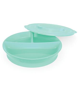 Twistshake Piatto Divisorio con Coperchio - Verde Pastello - Senza BPA, BPS e BPF! Piatti e Scodelle