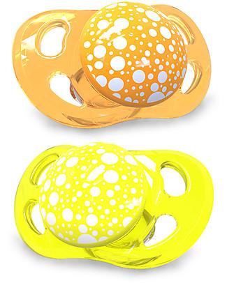 Twistshake Set da 2 Ciucci in Silicone Ortodontici Extra-Morbidi 0-6 mesi, Arancione e Giallo - Senza BPA! Ciucci