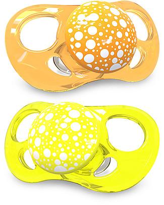 Twistshake Set da 2 Ciucci in Silicone Ortodontici Extra-Morbidi 6+ mesi, Arancio e Giallo – Senza BPA! Ciucci
