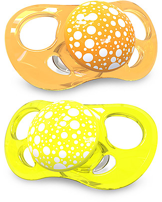 Twistshake Set da 2 Ciucci in Silicone Ortodontici Extra-Morbidi 6+ mesi, Arancio e Giallo - Senza BPA! Ciucci