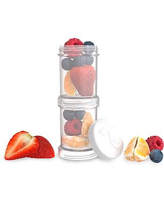 Twistshake Set di 2 Contenitori per Latte o Snack da 100 ml, Bianco Diamond - Compatibili con tutti i Biberon Twistshake, senza BPA! Contenitori Latte e Snack