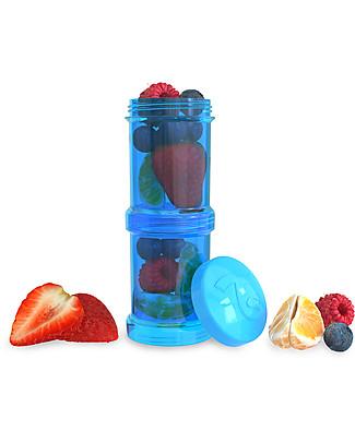 Twistshake Set di 2 Contenitori per Latte o Snack da 100 ml, Blu Cookiecrumb - Compatibili con tutti i Biberon Twistshake, senza BPA! Contenitori Latte e Snack