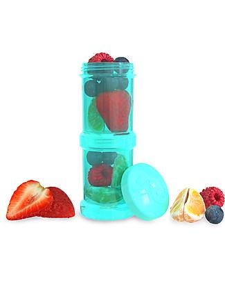Twistshake Set di 2 Contenitori per Latte o Snack da 100 ml, Turchese Sleepyhead - Compatibili con tutti i Biberon Twistshake, senza BPA! Contenitori Latte e Snack