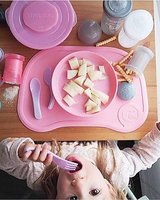 Twistshake Set Piatto con Coperchio e Tovaglietta Antiscivolo - Rosa Pastello - Senza BPA, BPS e BPF! Set Pappa
