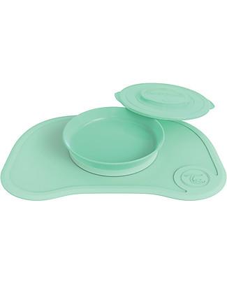 Twistshake Set Piatto con Coperchio e Tovaglietta Antiscivolo - Verde Pastello - Senza BPA, BPS e BPF! Set Pappa