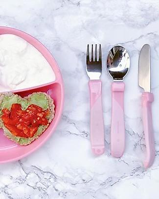 Twistshake Set Posate Autonomia - Rosa Pastello - Senza BPA, BPS e BPF! Posate e Bacchette