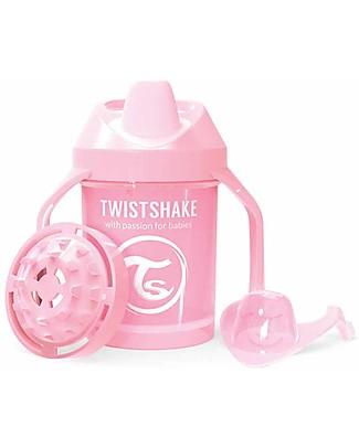 Twistshake Tazza Mini Sippy Antigoccia Fruit Splash con Mixer per Frutta, 230 ml, Rosa Pastello - Senza BPA, BPS e BPF! Tazze con Beccuccio Sippy