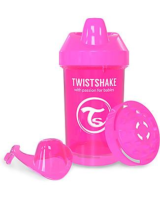 Twistshake Tazza Sippy Antigoccia Fruit Splash con Mixer per Frutta, 300 ml Rosa Crazymonkey – Senza BPA, BPS e BPF! Tazze con Beccuccio Sippy