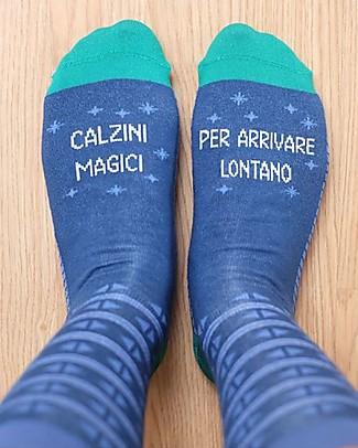 """UO* Calzini """"Magici per arrivare lontano""""- Idea regalo, Blu Calzini"""
