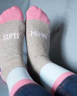 "UO Calzini ""Supermamma"" - Idea regalo, rosa e grigio Calzini"