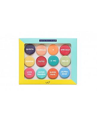 """UO """"Kit Magneti Family!"""" Idea regalo - Comprende 12 coloratissime calamite per dolci messaggi Regalini"""