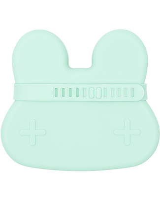 We Might Be Tiny Bunny Snackie 2 in 1 Lunch Box and Plate, Mint - BPA free! Snack and Formula Containers