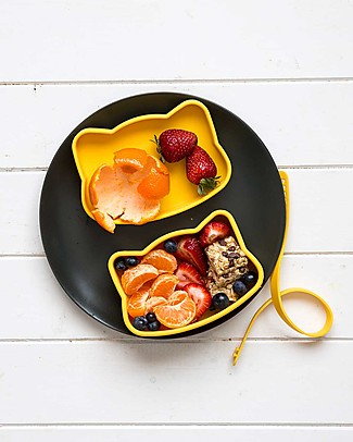 We Might Be Tiny Contenitore Snackie 2 in 1 Porta Pranzo e Piatto Gatto, Giallo -  Senza BPA! Contenitori Latte e Snack