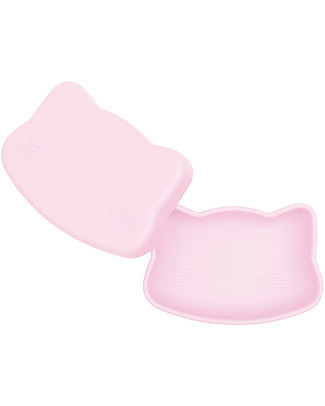 We Might Be Tiny Contenitore Snackie 2 in 1 Porta Pranzo e Piatto Gatto, Rosa -  Senza BPA! Contenitori Latte e Snack