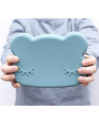 We Might Be Tiny Contenitore Snackie 2 in 1 Porta Pranzo e Piatto Orso, Blu Carta di Zucchero -  Senza BPA! Contenitori Latte e Snack