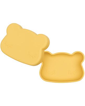 We Might Be Tiny Contenitore Snackie 2 in 1 Porta Pranzo e Piatto Orso, Giallo -  Senza BPA! Contenitori Latte e Snack