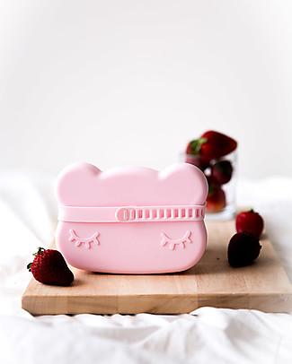 We Might Be Tiny Contenitore Snackie 2 in 1 Porta Pranzo e Piatto Orso, Rosa Chiaro -  Senza BPA! Contenitori Latte e Snack